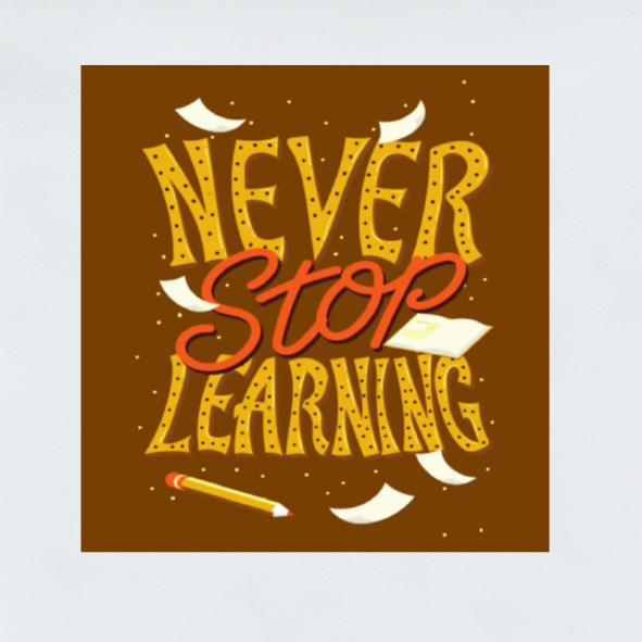 Never Stop Learning Stickers (Square)