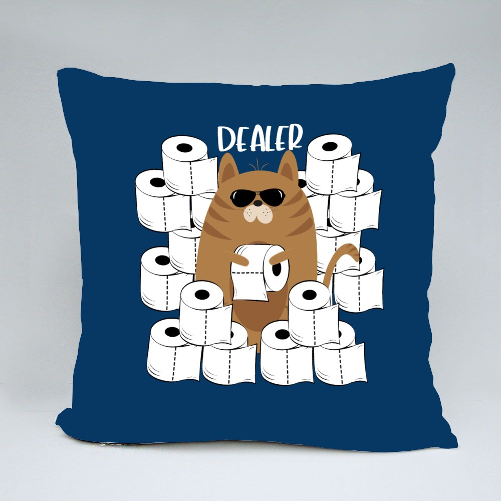 Cool Cat and Toilet Papers Throw Pillows