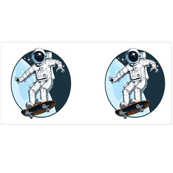 Astronaut Rides on Skateboard Colour Mugs