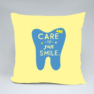 Care for Your Smile Throw Pillows