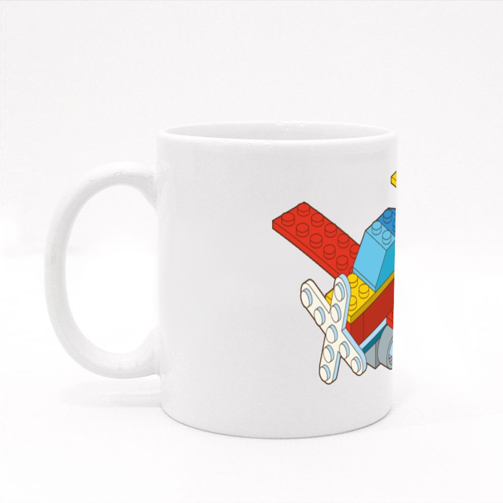 Airplane Made by Blocks Colour Mugs