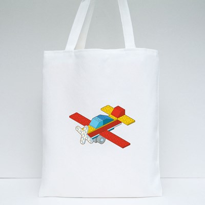 Airplane Made by Blocks Tote Bags