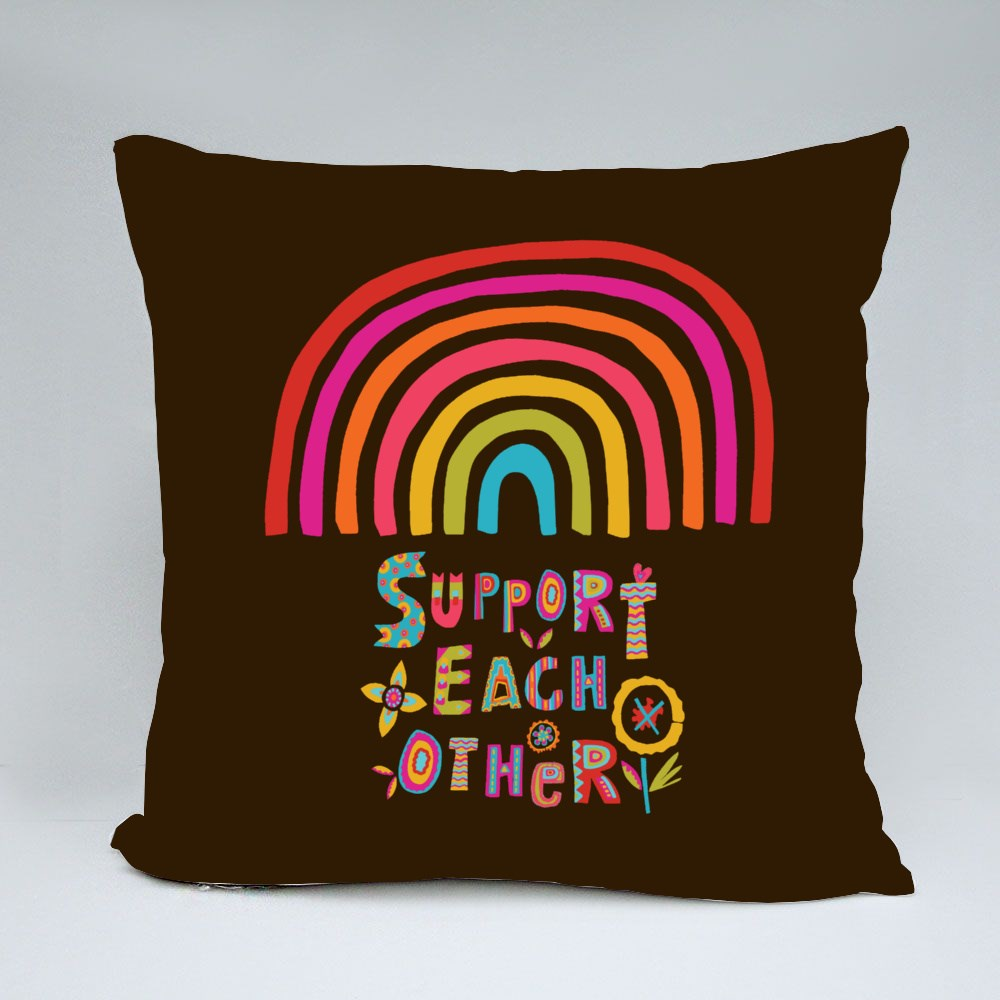 Support Each Other Rainbow Throw Pillows