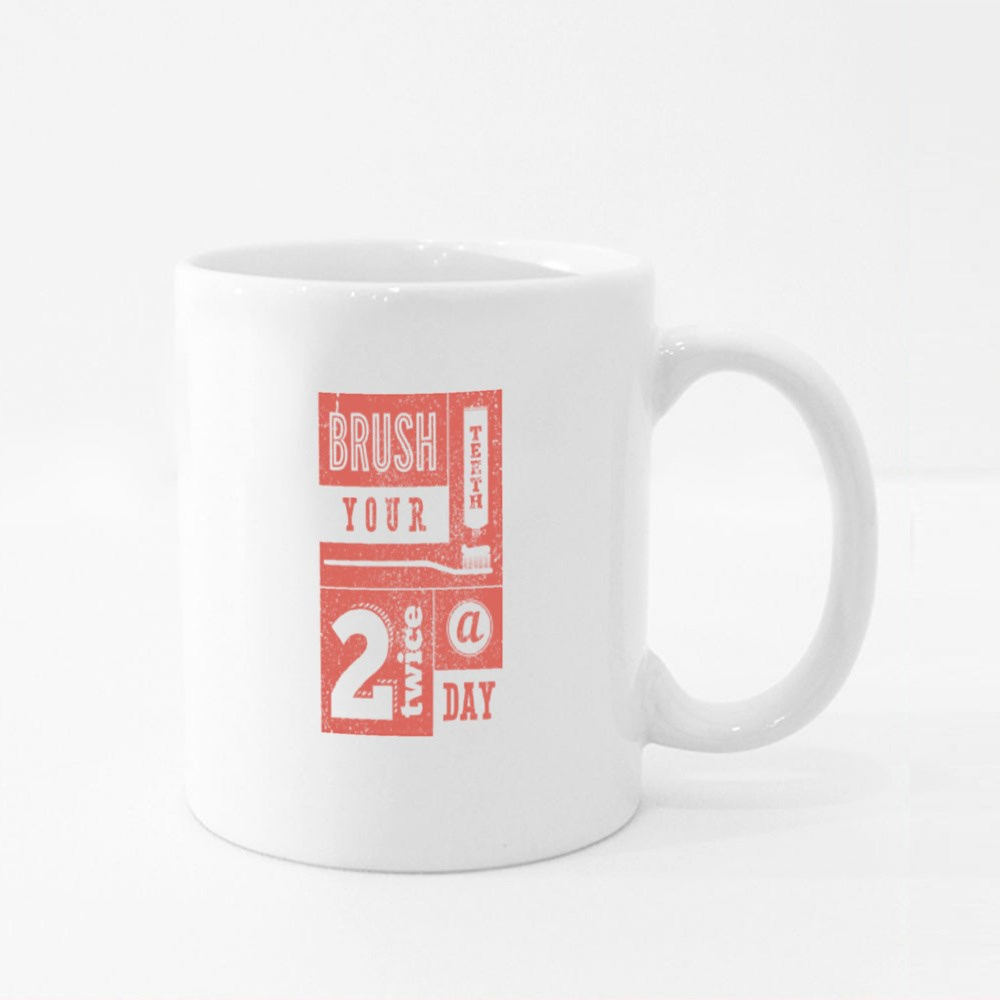 Brush Your Teeth 2 Times a Day Colour Mugs
