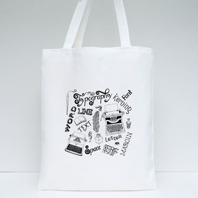 Typography Vector Doodles Tote Bags