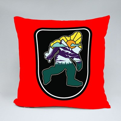 Big Foot With Mountains Throw Pillows