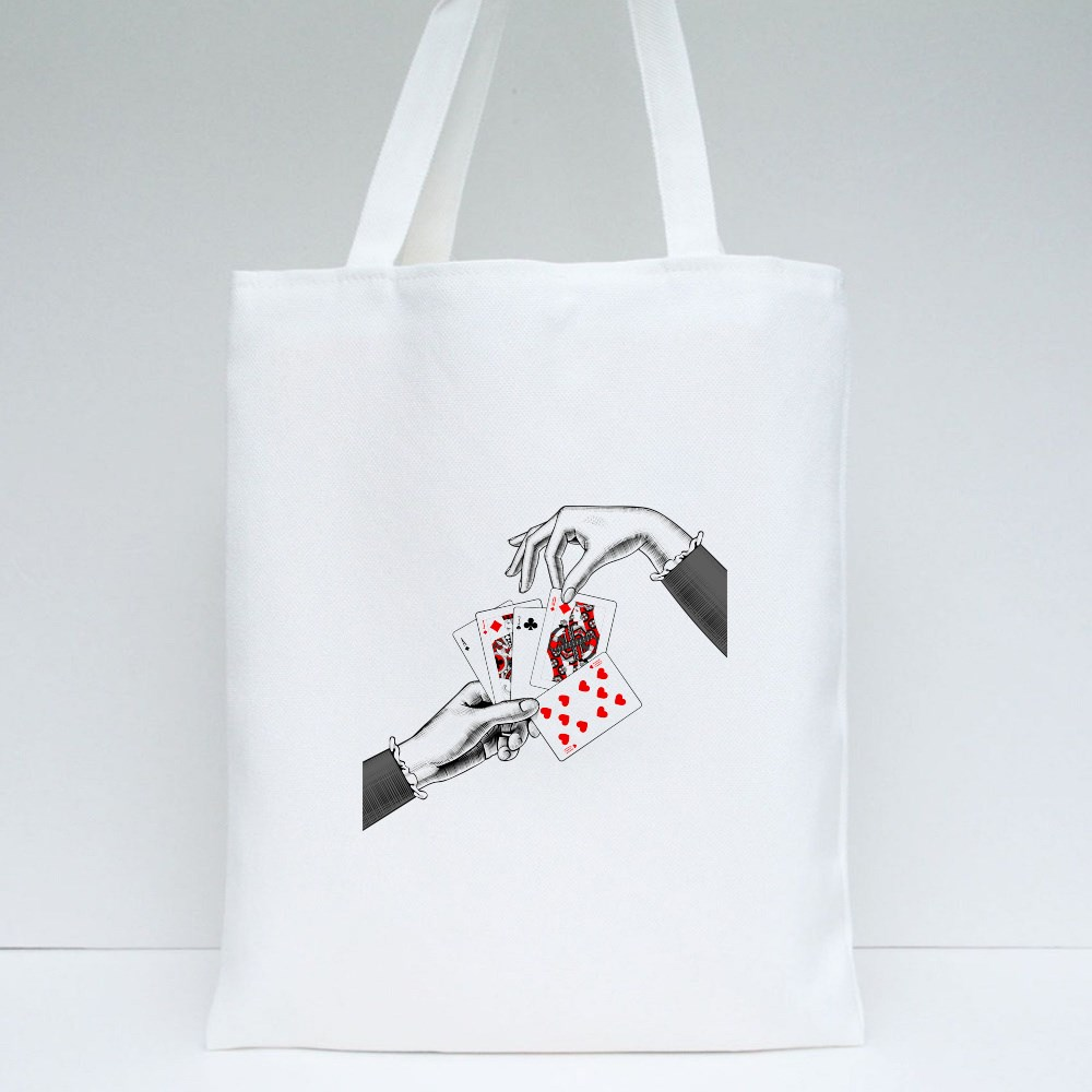 Woman's Hands With Card Tote Bags