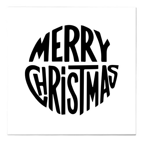 Merry Christmas Circle Typography Ceramic Tiles Square